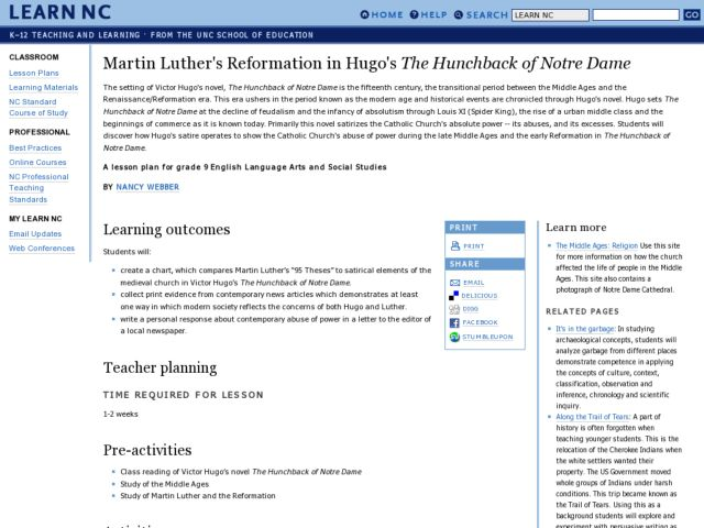 Martin Luther's Reformation in Hugo's The Hunchback of Notre Dame Lesson Plan