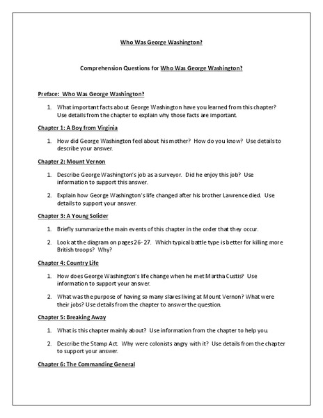 """Who Was George Washington?"" Reading Comprehension Worksheet"