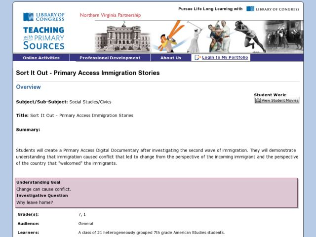 Sort It Out - Primary Access Immigration Stories Lesson Plan
