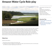 Amazon Water Cycle Role Play Lesson Plan