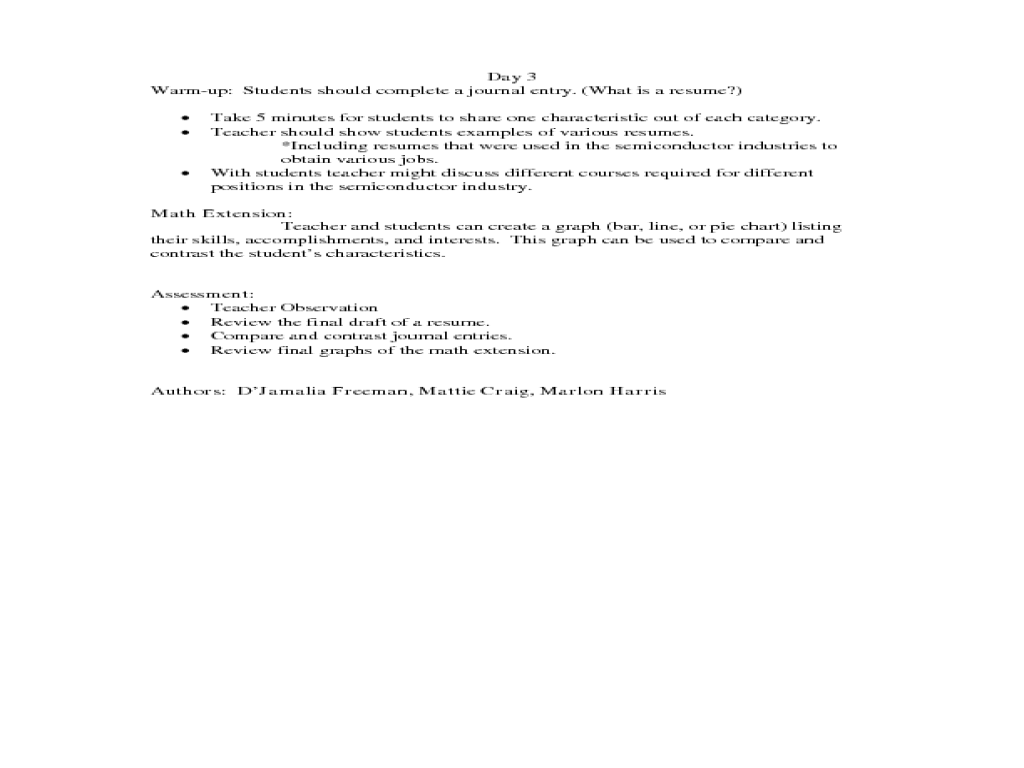 resume building lesson plan for 1st