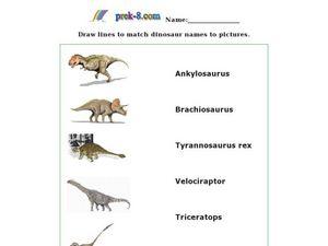 dinosaur matching worksheet for 1st 3rd grade lesson planet. Black Bedroom Furniture Sets. Home Design Ideas