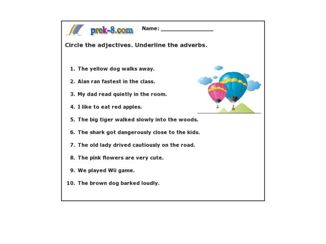 Identify Adjectives and Adverbs Worksheet for 3rd - 4th ...