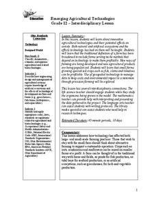 Emerging Agricultural Technologies Lesson Plan