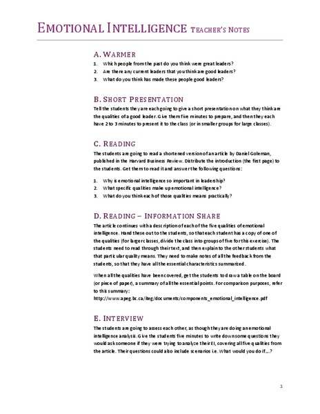 Emotional Intelligence Lesson Plan for 5th - 8th Grade