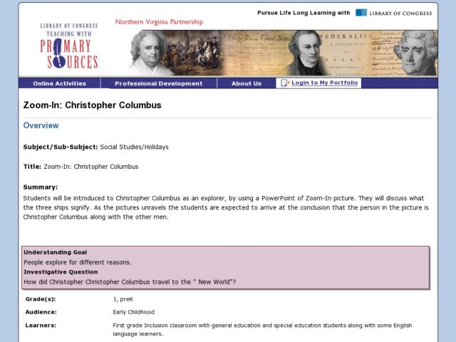 Zoom In: Christopher Columbus Lesson Plan