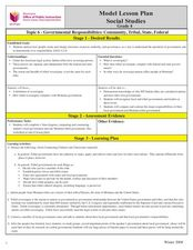 Governmental Responsibilities: Community, Tribal, State, Federal Lesson Plan