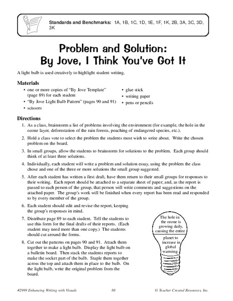 Problem and Solution: By Jove, I Think You've Got It Printables & Template