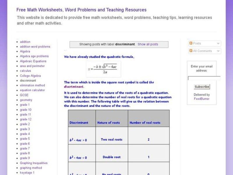 Quadratic Formula Lesson Plans Worksheets 217 240