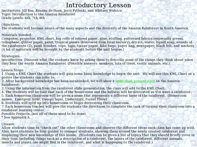 Introduction to the Amazon Rainforest 6th - 8th Grade Lesson Plan ...