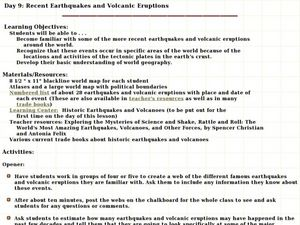 Recent Earthquakes and Volcanic Eruptions Lesson Plan
