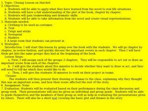Closing Lesson on Hatchet 6th - 10th Grade Lesson Plan | Lesson Planet