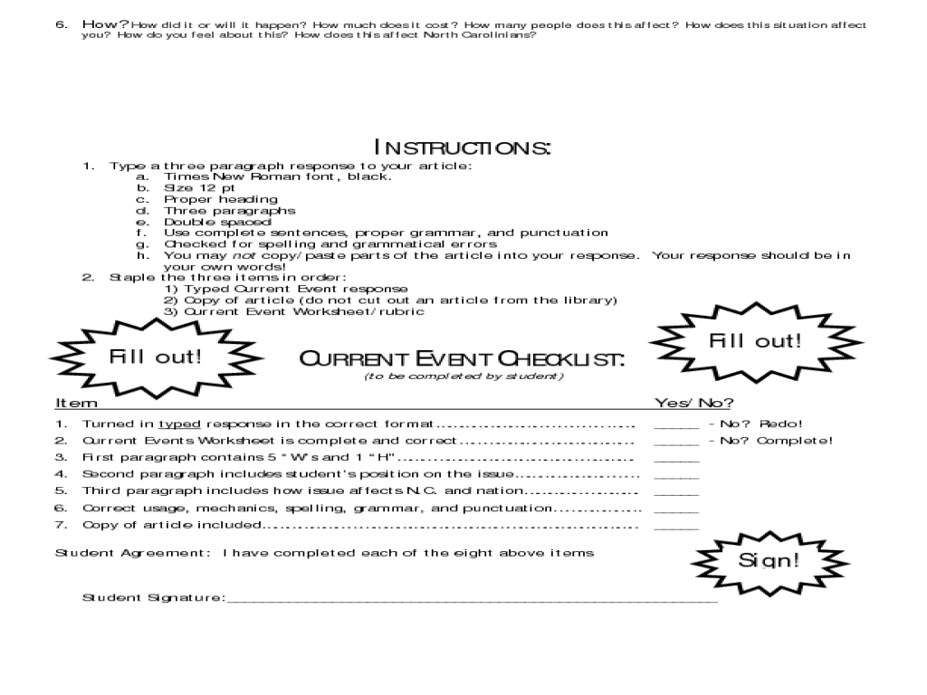 Social Studies Current Event Worksheet 7th 12th Grade Worksheet – Current Events Worksheet