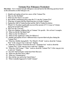 Vietnam War Wikispace Worksheet Worksheet for 7th  12th Grade  Lesson Planet