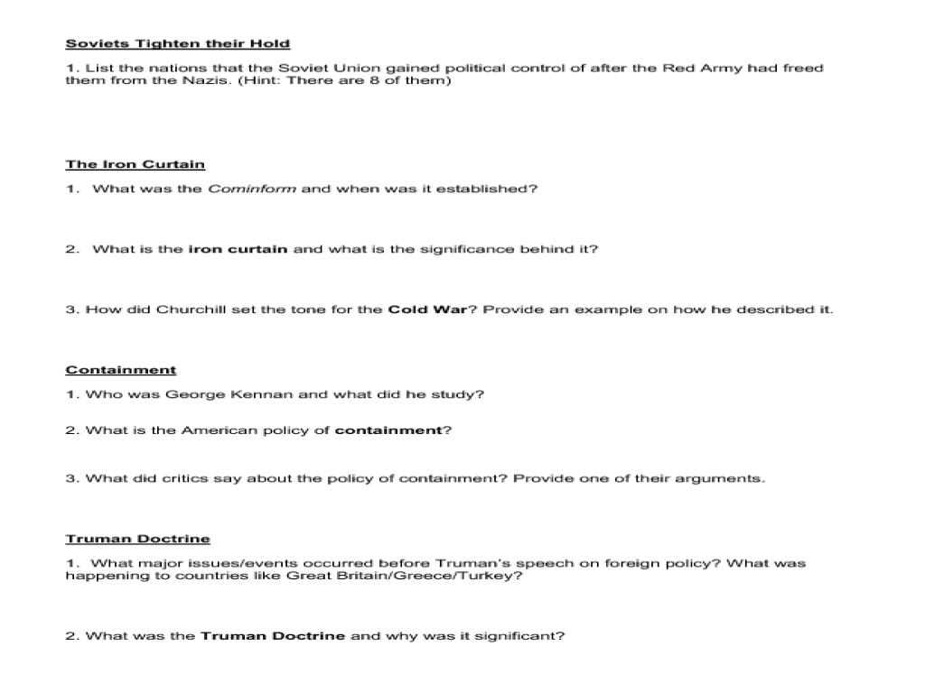 Worksheets Origins Of The Cold War Worksheet origins of the cold war worksheet for 9th 12th grade lesson planet