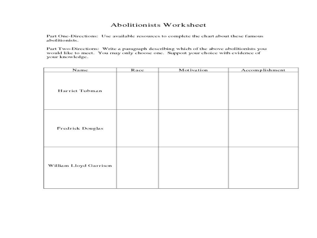 Free Worksheet Harriet Tubman Worksheets abolitionists worksheet 5th 8th grade lesson planet