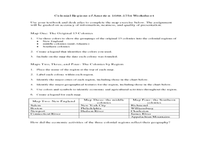 Colonial Regions of America 1689 - 1754 Worksheet Worksheet