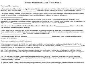 Review Worksheet After World War II Worksheet for 9th ...