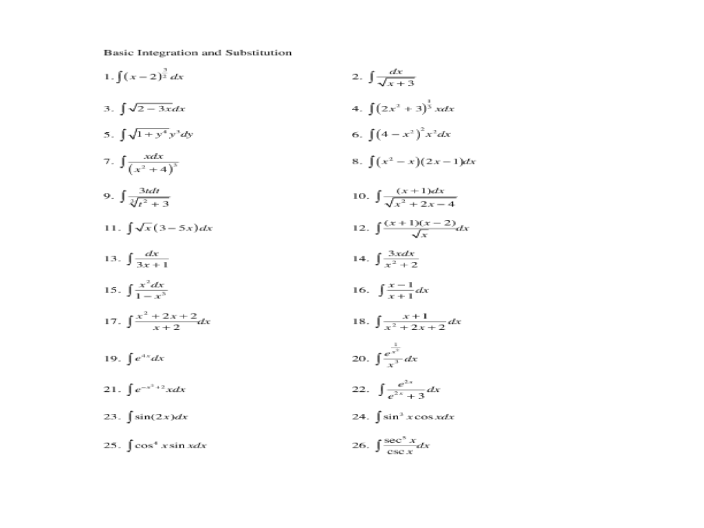 Basic Integration And Substitution Worksheet For 11th 12th Grade