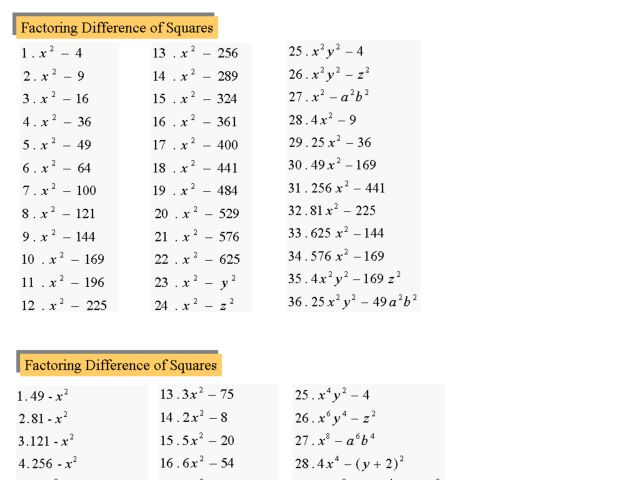 Seventy Two Factoring Difference Of Squares Problems