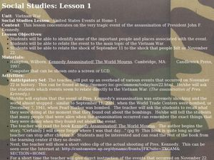 Vietnam War: Kennedy Assassination Lesson Plan