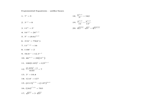Exponential Equations - unlike bases 10th - 11th Grade Worksheet ...