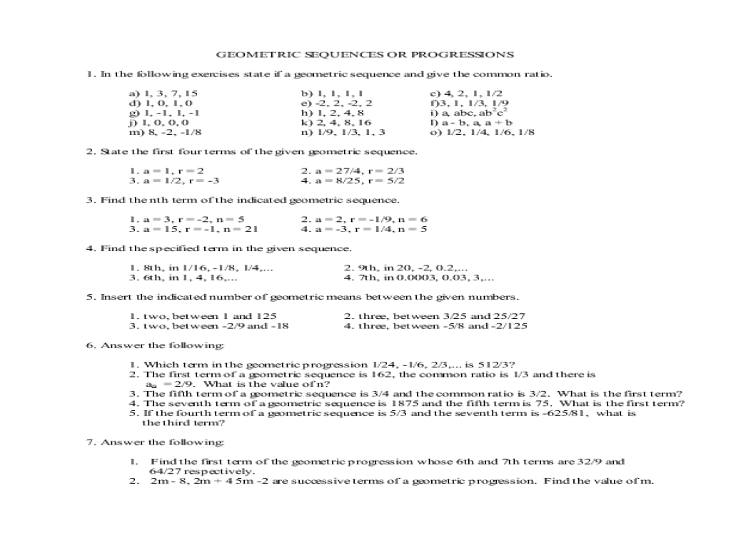 Geometric Sequences or Progressions 11th - 12th Grade Worksheet ...