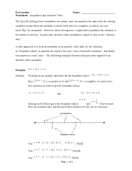 Inequalities And Absolute Value Worksheet For 9th 12th