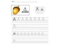 A is for Acorn Worksheet