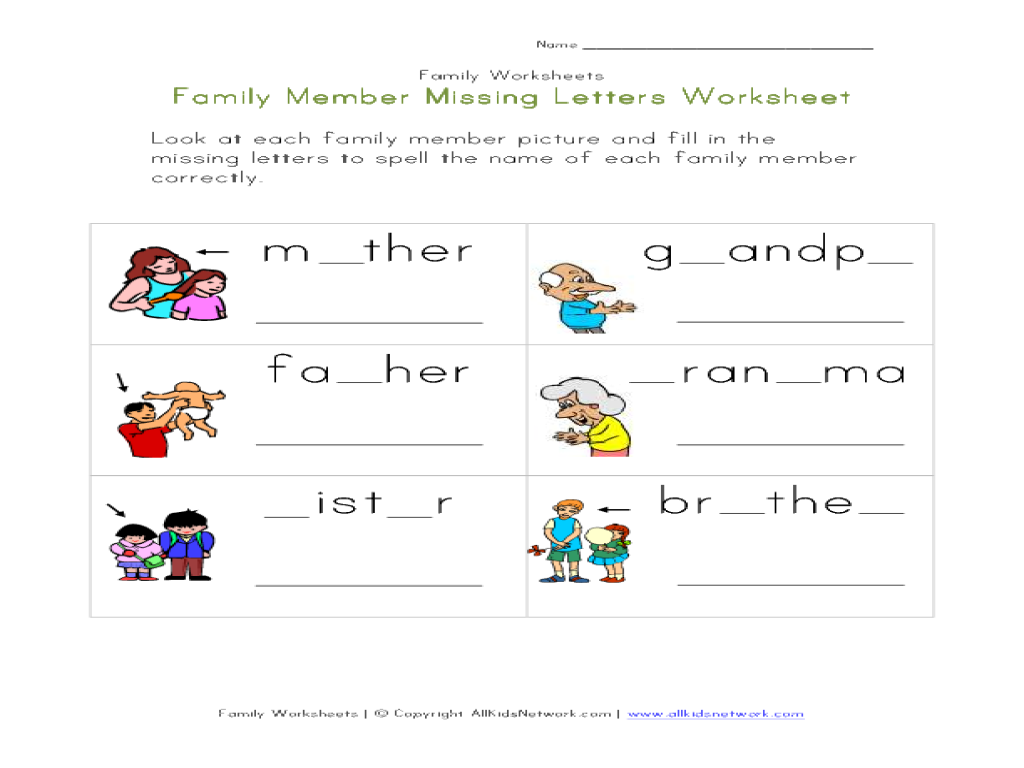 Family Worksheets For Kindergarten common worksheets family – Family Worksheets