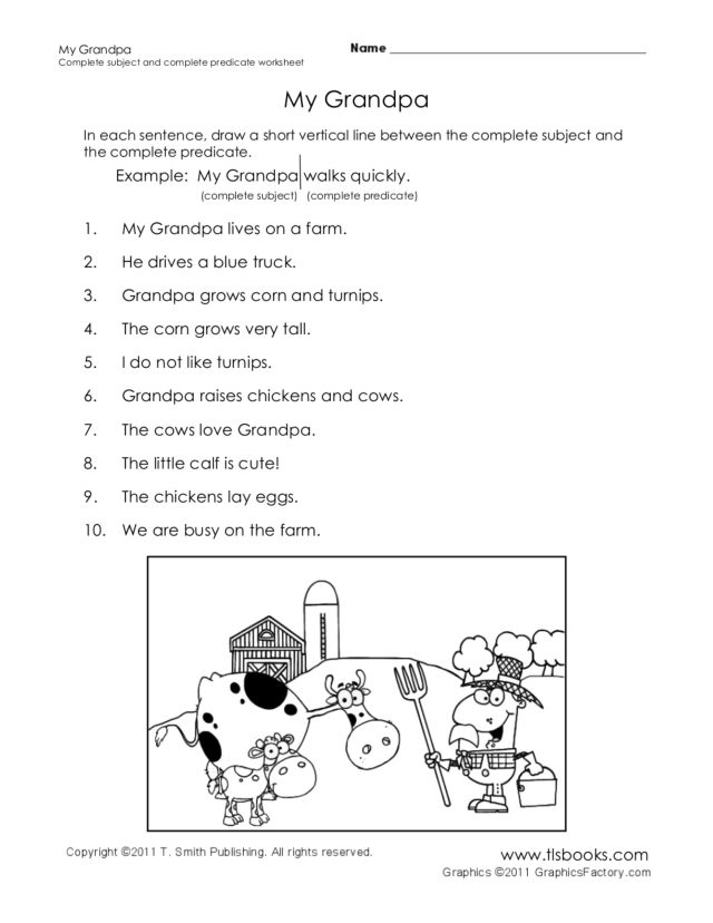 My Grandpa Complete Subject and Complete Predicate 3rd 4th – Subject and Predicate Worksheet