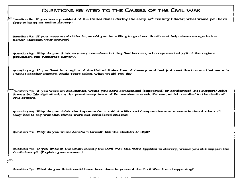 Worksheets Causes Of The Civil War Worksheet questions related to the causes of civil war 8th 12th grade worksheet lesson planet