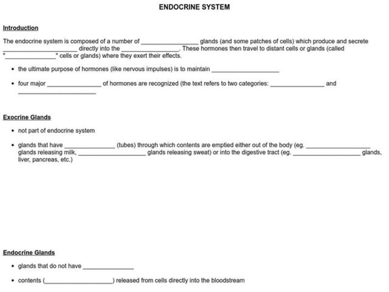 Endocrine System Worksheet For 9th Higher Ed Lesson Planet