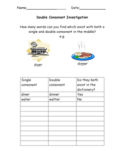 Double Consonant Investigation Worksheet for 1st - 3rd ...