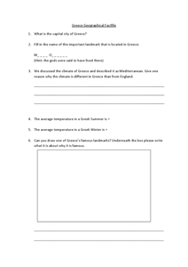 Greece Geographical Factfile Worksheet