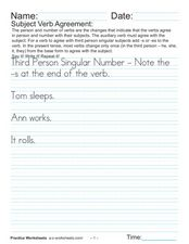 Subject Verb Agreement:  Third Person Worksheet