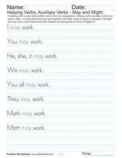 Helping Verbs, Auxiliary Verbs:  May and Might Worksheet
