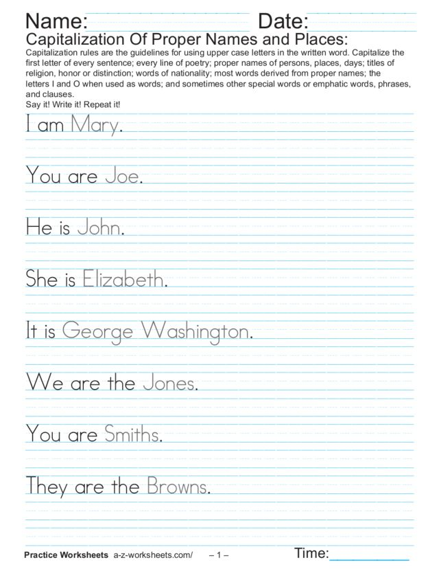 Capitalization of Proper Names and Places Worksheet for 4th Grade ...