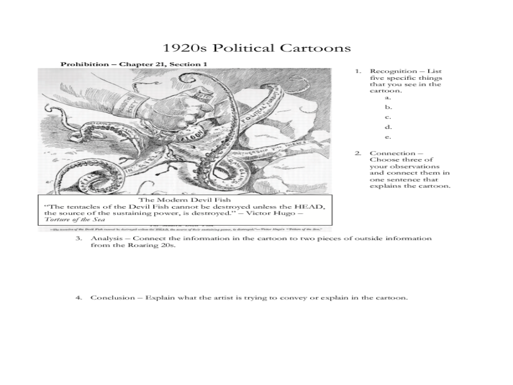 Interpreting Political Cartoons Roaring 20s Lesson Plan For 11th