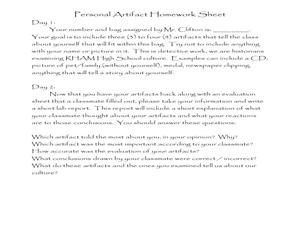 Personal Artifacts Lesson Plan