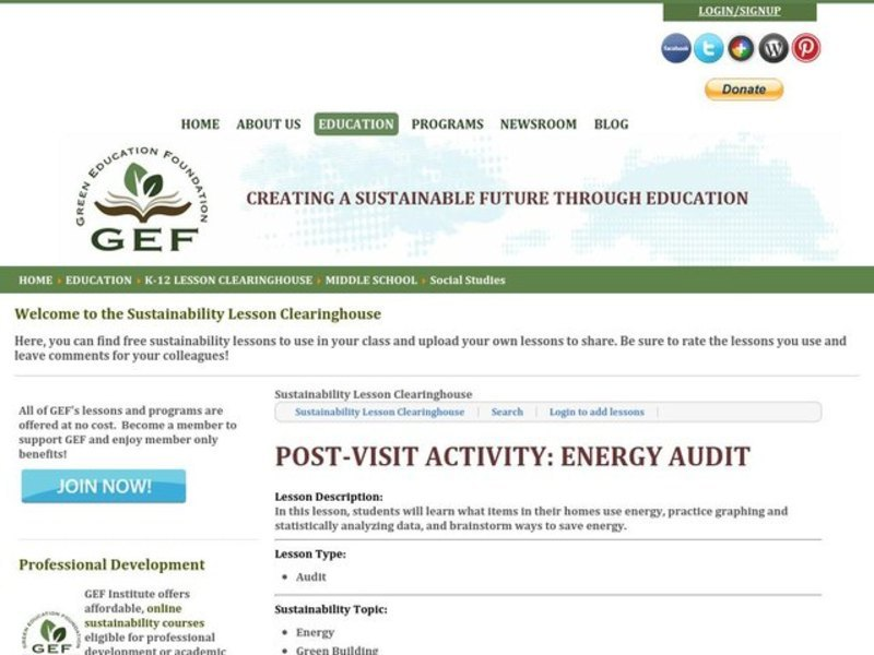 Energy Audit Lesson Plan