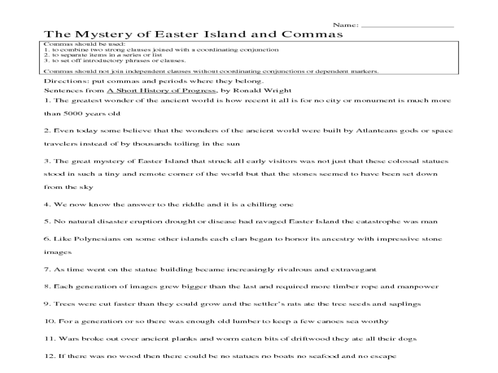 the mystery of easter island and commas 5th 6th grade worksheet