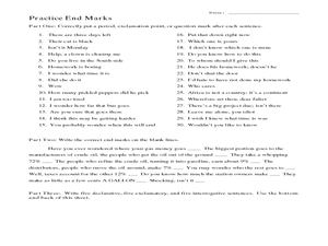 Practice End Marks Worksheet
