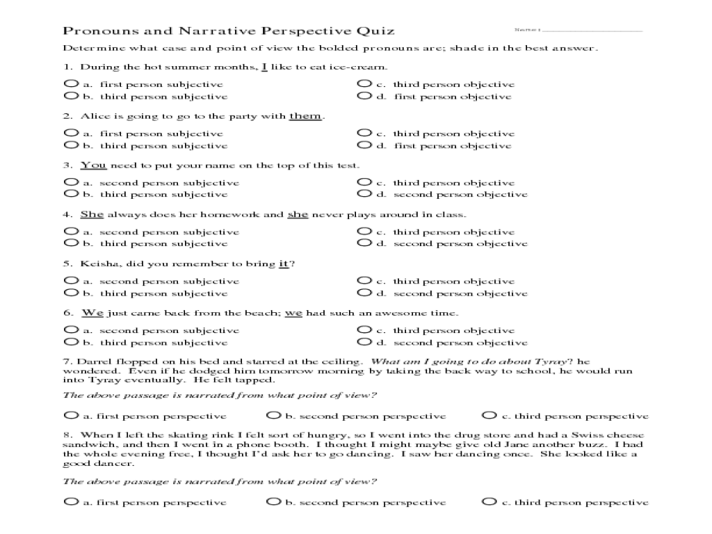 Pronoun And Narrative Perspective Quiz Worksheet For 4th