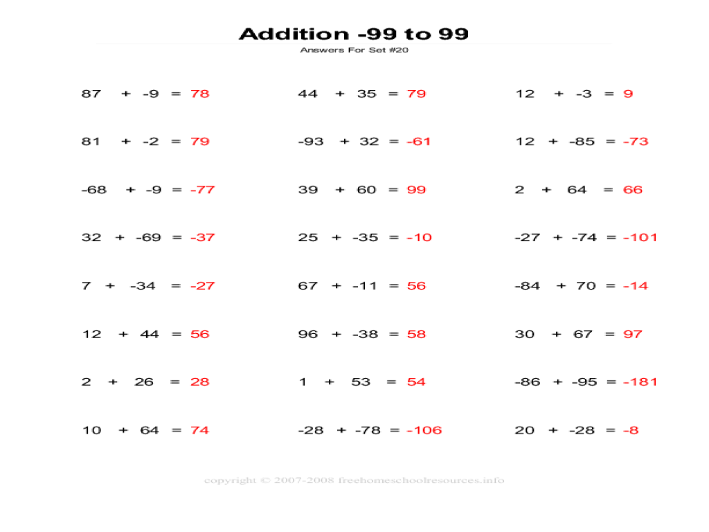 - Adding Integers From -99 To 99 Worksheet For 8th Grade Lesson Planet