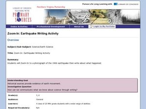 Zoom-in: Earthquake Writing Activity Lesson Plan