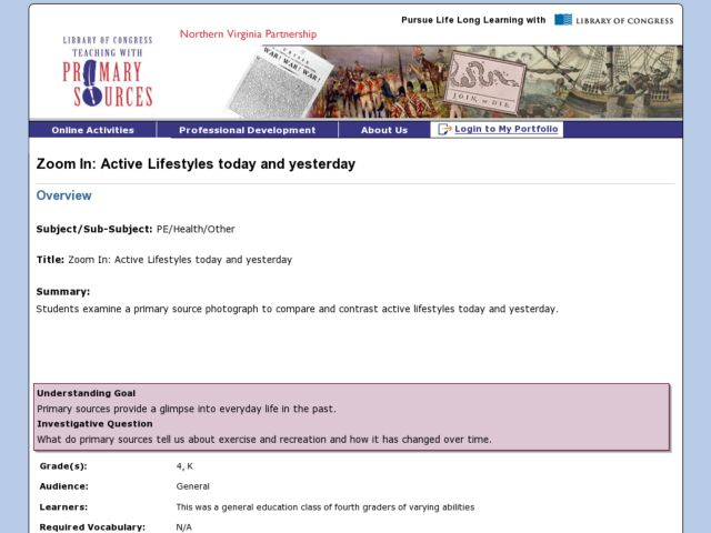 Active Lifestyles Today and Yesterday Lesson Plan