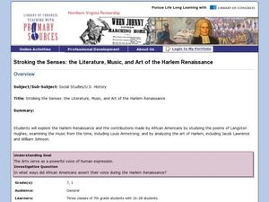 Stroking the Senses: The Literature, Music, and Art of the Harlem Renaissance Lesson Plan
