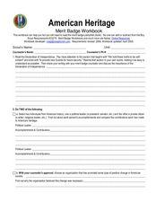 American Heritage: merit badge Worksheet for 5th - 12th Grade ...