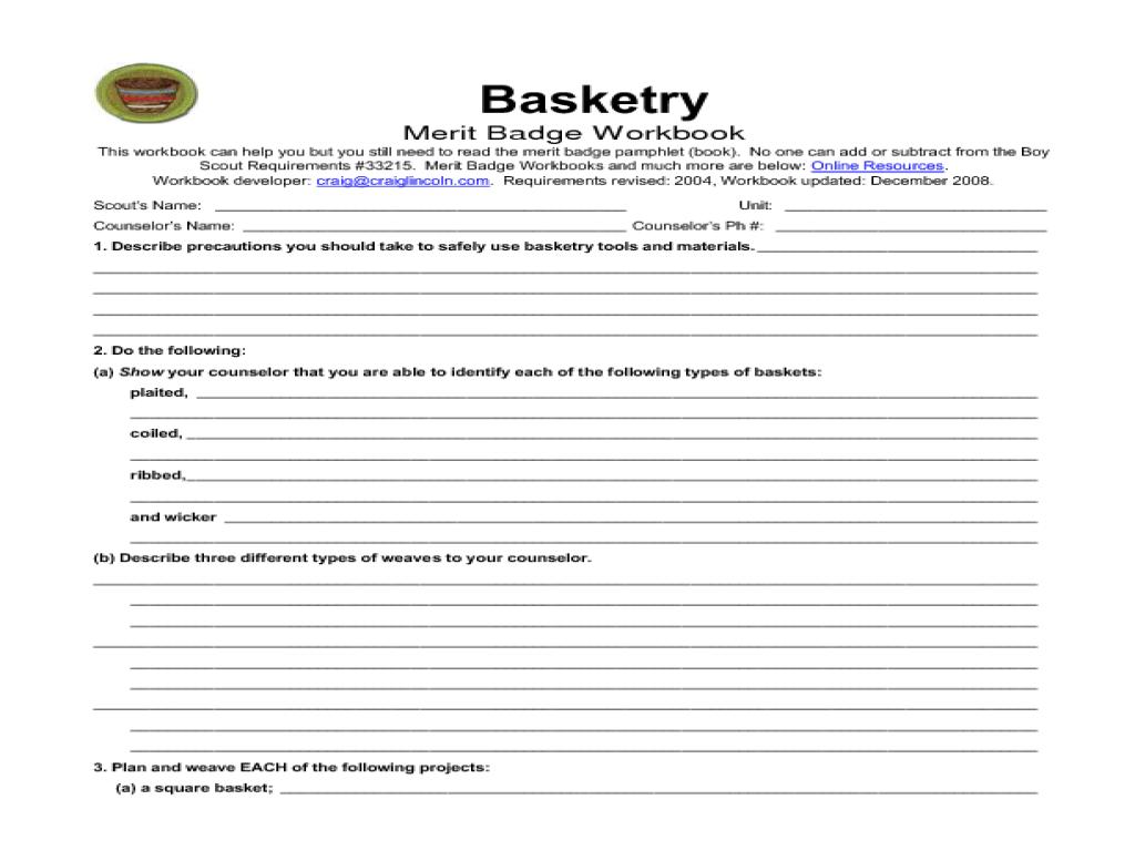 Basketry merit badge Worksheet for 5th   12th Grade ...